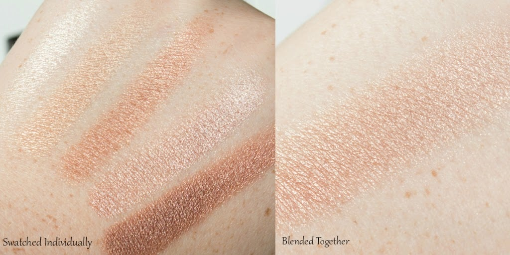 Swatch photo showing the five individual shades swatched separately, and all five shades blended together