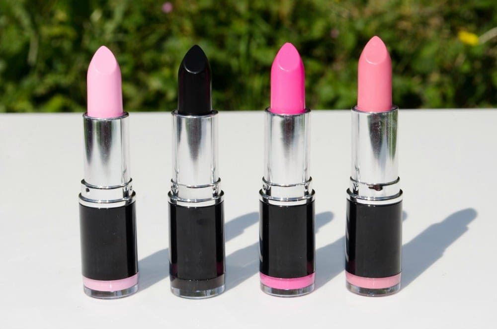 MUA Lipsticks Review; Flamingo, Persian Rose, Tulip and Raven