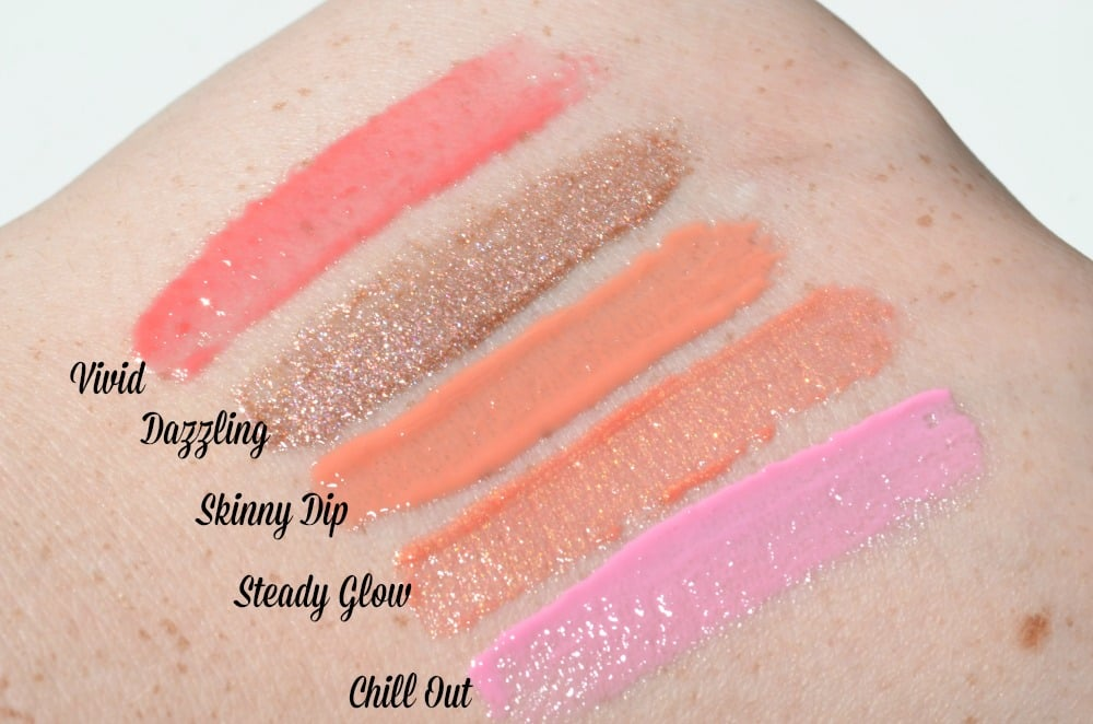 Swatch image of Vivid, Dazzling, Skinny Dip, Steady Glow and Chill Out lip glosses
