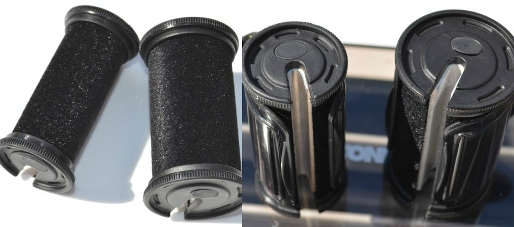 Image showing the flocked finish to the two different sizes of the heated hair rollers