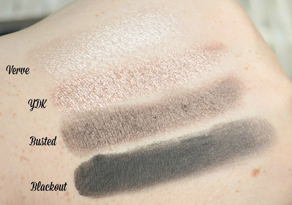 Swatches of Verve, YDK, Busted and Blackout