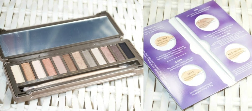 Close up image of the eyeshadow palette open with the eyeshadow primer samples