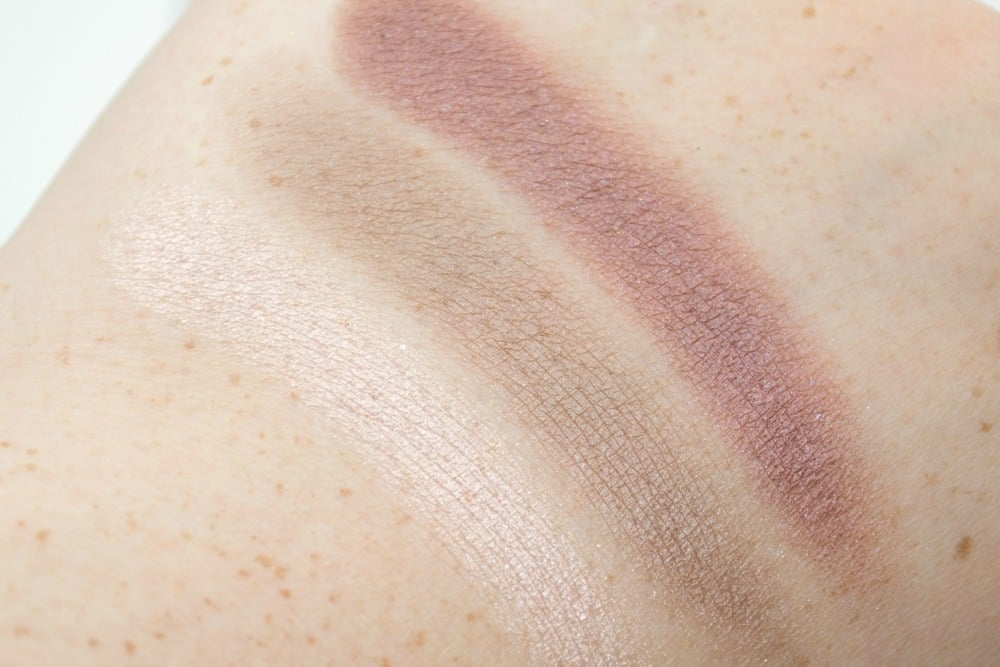Image showing three of the six swatches of the eyeshadows