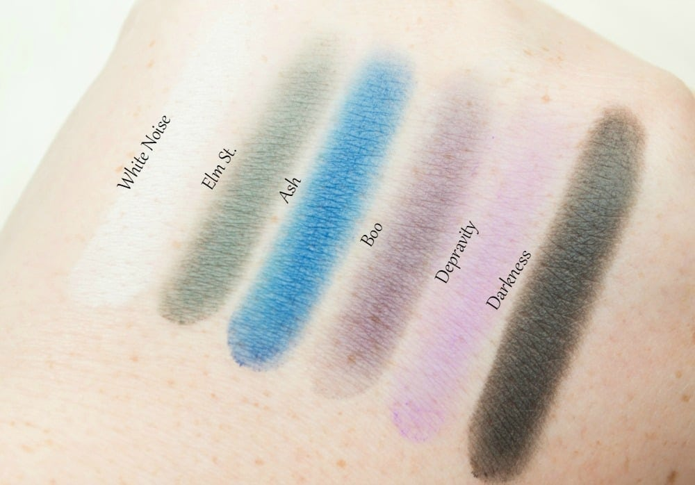 Image showing six of the powder eyeshadows within the eyeshadow palette