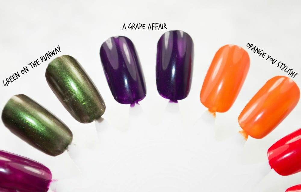 Swatch image showing Green on the Runway, A Grape Affair and Orange You Stylish