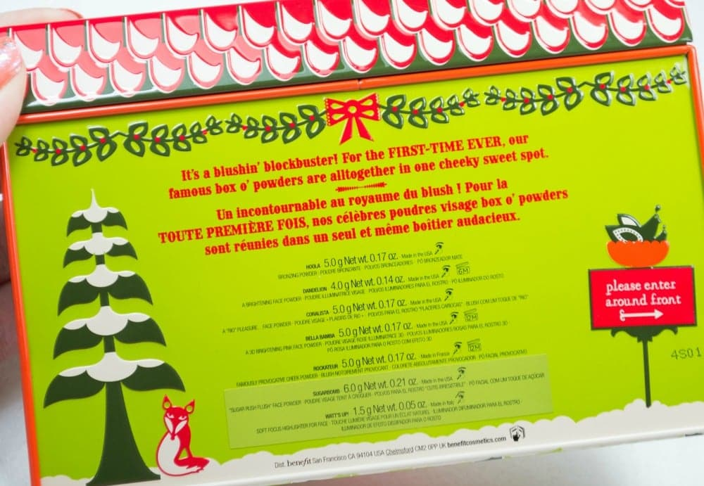The back of the tin with the ingredients and weights of each powder in the palette