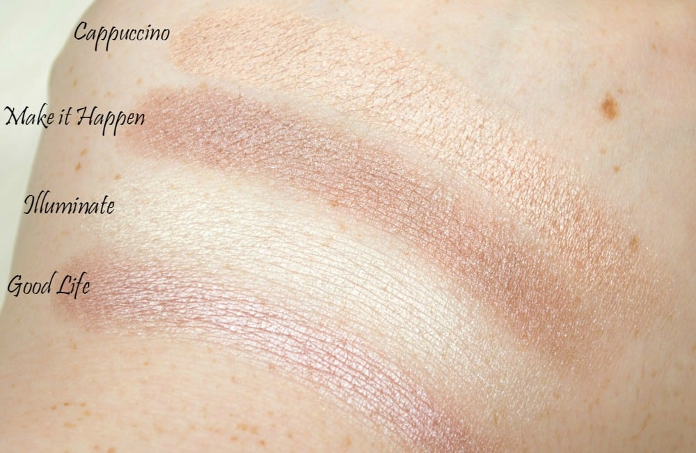 Swatches of the four individual eyeshadows in shimmer finishes