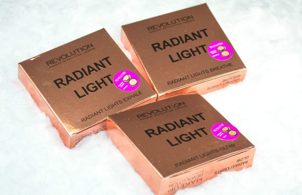 Image of the three highlighters inside their rose gold, metallic box packaging