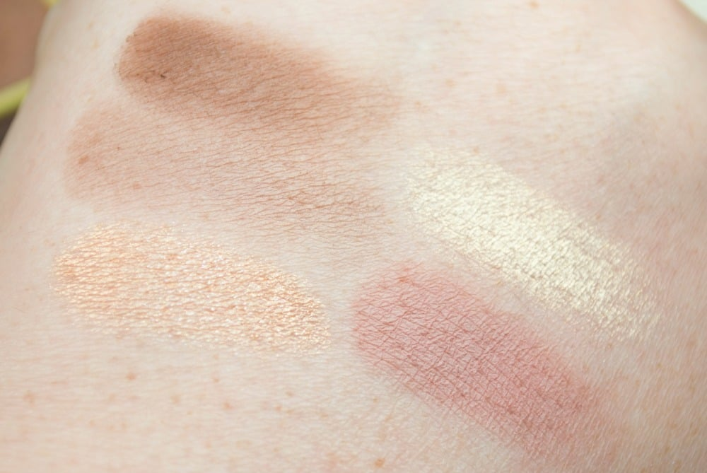 Swatches of five of the shades in matte and shimmer finishes