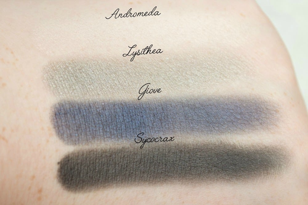 Swatches of Andromeda, Lysthea, Giove and Sycorax