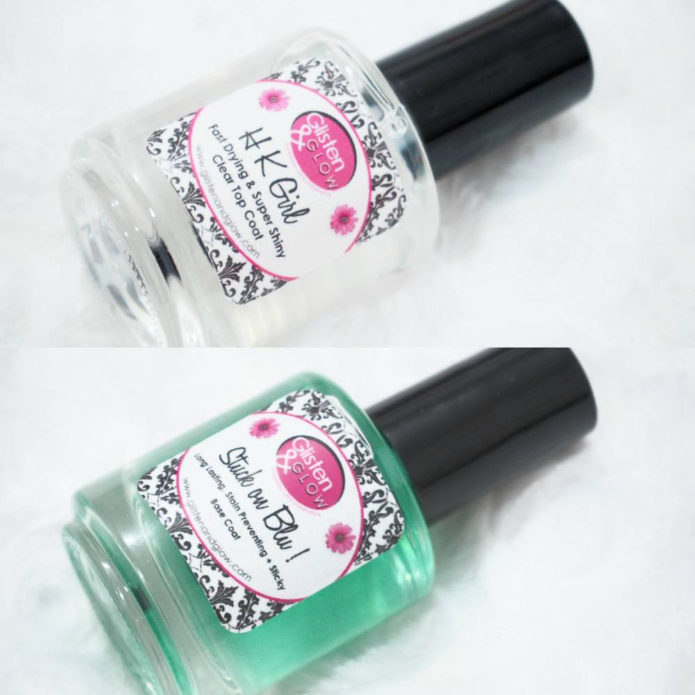 Glisten and Glow HK Girl Topcoat and Stuck on Blu Base Coat Review