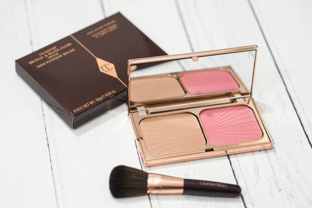 Charlotte Tilbury Filmstar Bronze and Blush Glow with Travel Sized Blush Brush Review and Swatches