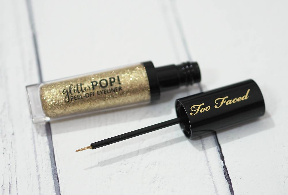 Too Faced Glitter Pop Peel Off Eyeliner Review and Swatches in the shade Lucky Bitch