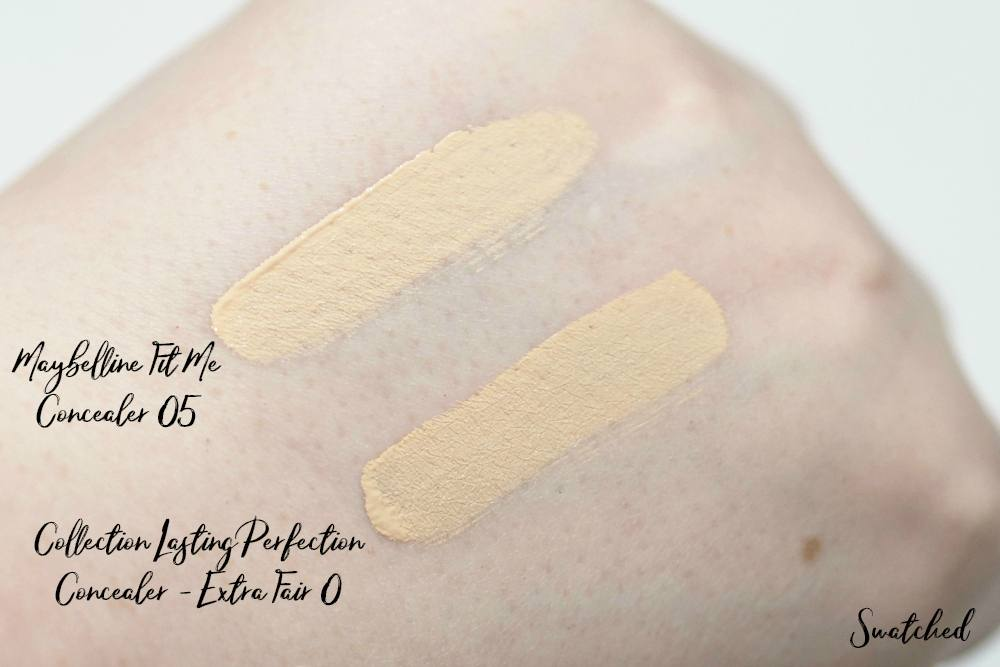 NEW Paler Shades of the Maybelline Fit Me Concealer and Collection Lasting Perfection Concealer - Comparison and Swatches - Shade 05 Vs. 0 Very Fair
