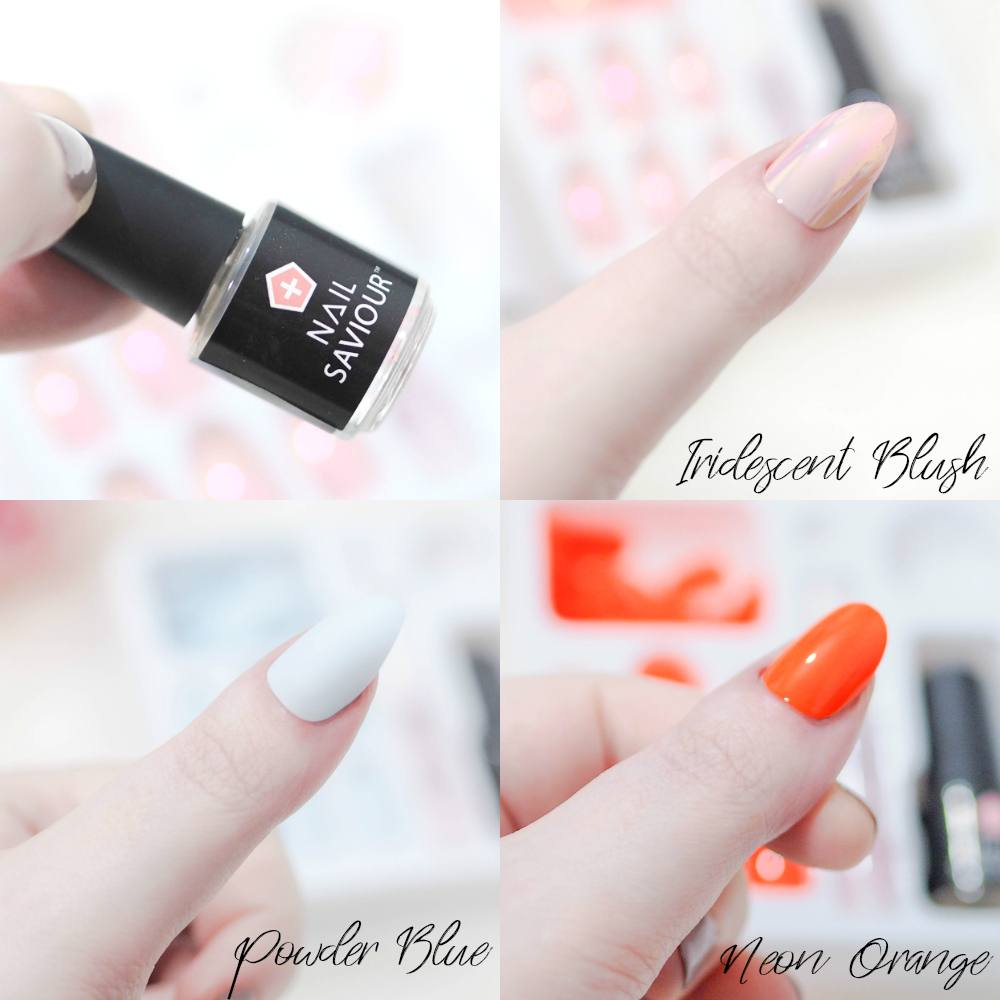 Elegant Touch Nail Saviour - False Nails and Nail Guards in One! Iridescent Blush, Powder Blue and Neon Orange
