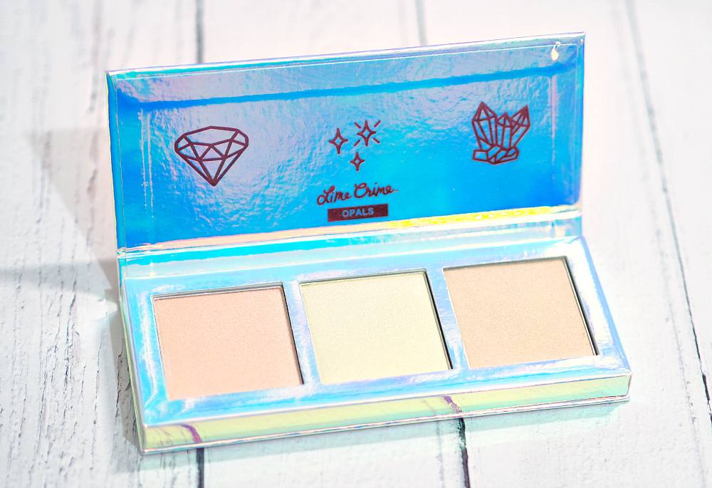 Lime Crime Hi-Lite Opals Highlighter Palette in the shades Pink, Gold and Peach - Review and Swatches