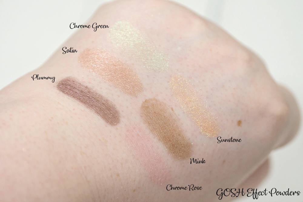 GOSH Effect Powder Collection Review and Swatches ft. Plummy, Sunstone, Mink, Satin, Chrome Green, Chrome Rose
