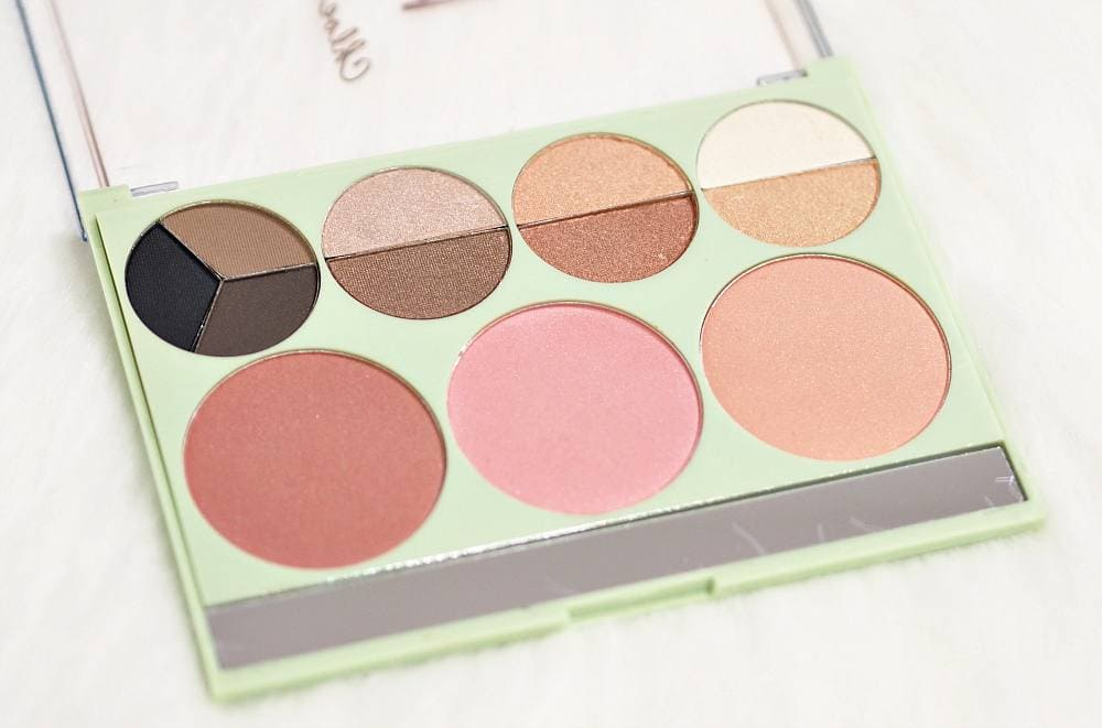 Image showing the inside of the palette with three blush shades and nine eyeshadow shades