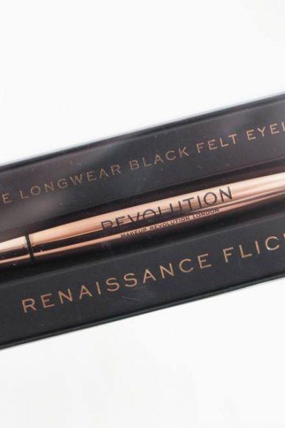 Revolution Renaissance Flick Intense Longwear Black Felt Eyeliner Review and Swatches