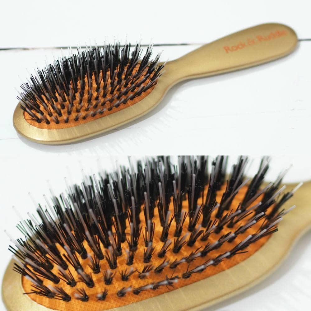 Rock and Ruddle Natural Bristle Hairbrushes - Leopard Brush and Gold Brush with natural bristles and nylon bristles