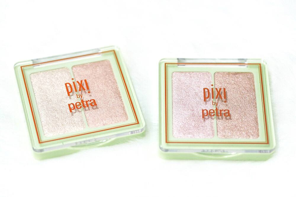 Pixi Glow-y Gossamer Duos - Subtle Sunrise and Delicate Dew Powder Highlighters Review and Swatches