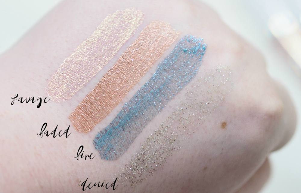 Lottie London Eye Foil Metallic Eyeshadow Toppers Review and Swatches - FIRE, DENIED, SAVAGE AND FADED