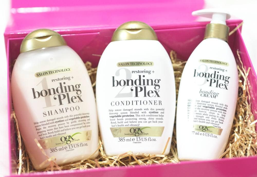 OGX Restoring and Bonding Plex Haircare Collection review ft. Shampoo, Conditioner and Bonding Cream - a possible Olaplex dupe