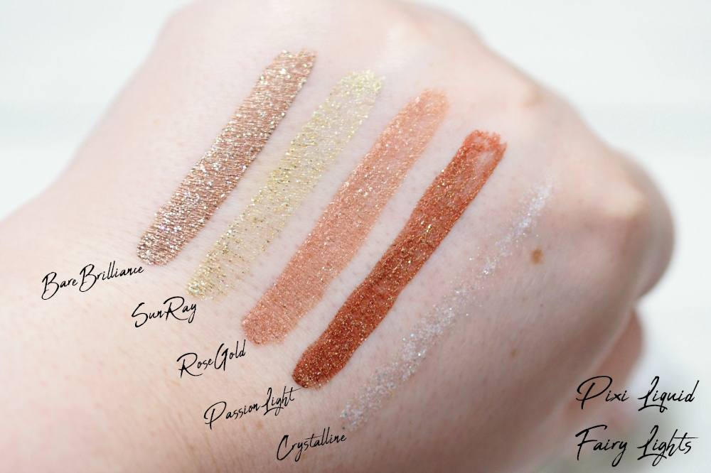 Pixi Liquid Fairy Lights Glitter Eyeshadows Review and Swatches in the shades BareBrilliance, SunRay, Crystalline, RoseGold and PassionLight
