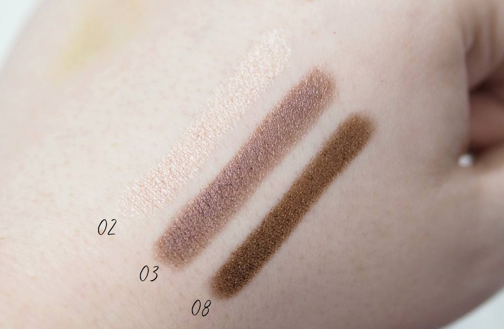 Review and Swatches of the Focallure Eyeshadow Pencils in the shades Champagne, Mars and Copper available from AliExpress