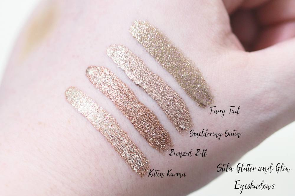 Stila Glitter and Glow Liquid Eyeshadow Collection Review + Swatches ft. Kitten Karma, Fairy Tail, Bronzed Bell and Smoldering Satin.