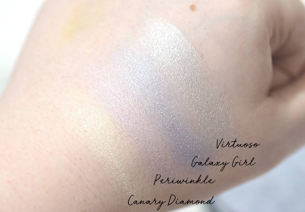Technic Get Gorgeous Highlighters Review and Swatches ft. Virtuoso, Periwinkle, Galaxy Girl and Canary Diamond