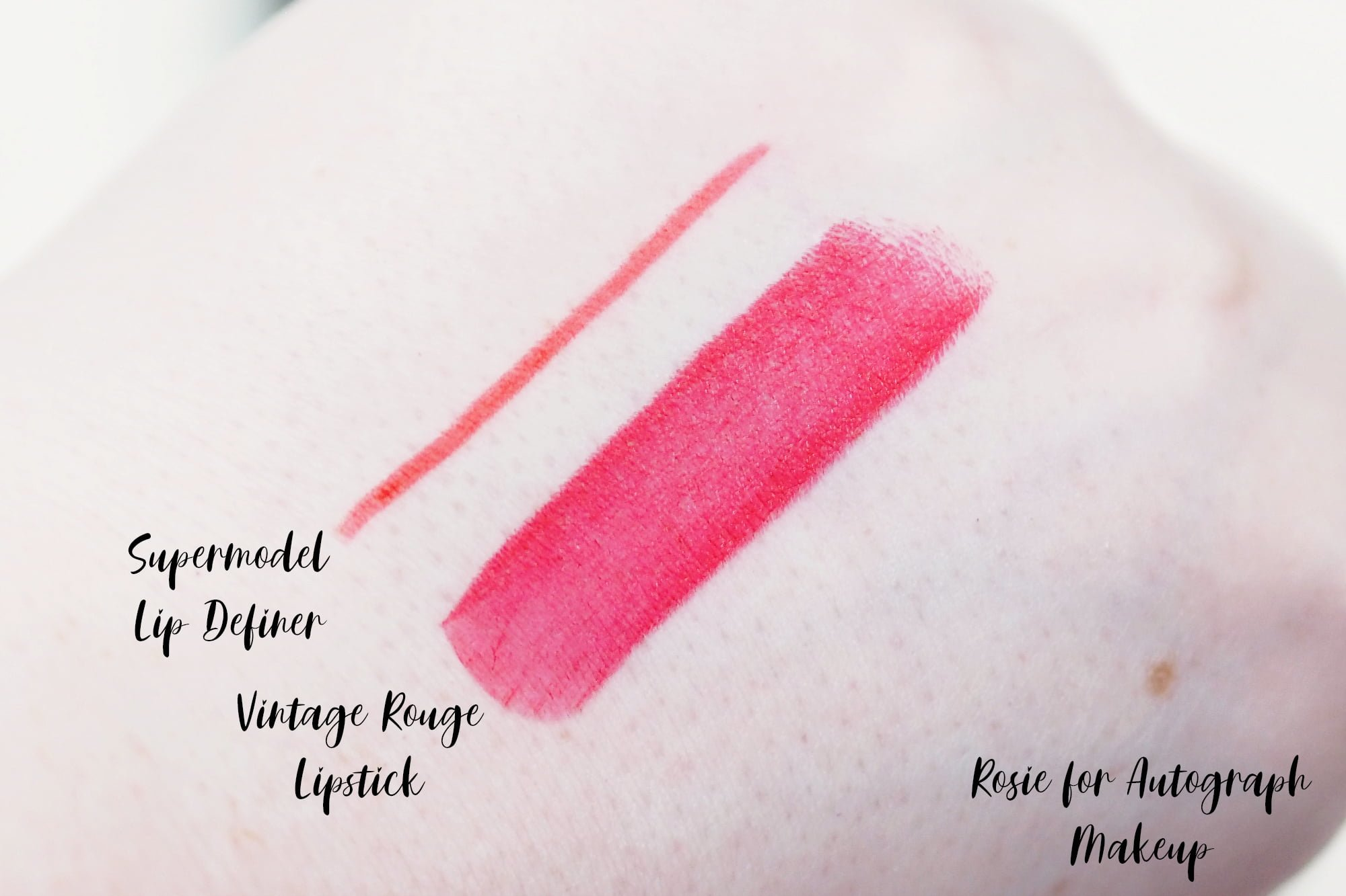 Review and Swatches of the Rosie for Autograph Lipstick and Lip Definer in Supermodel and Vintage Rouge - the perfect red lipstick and liner.
