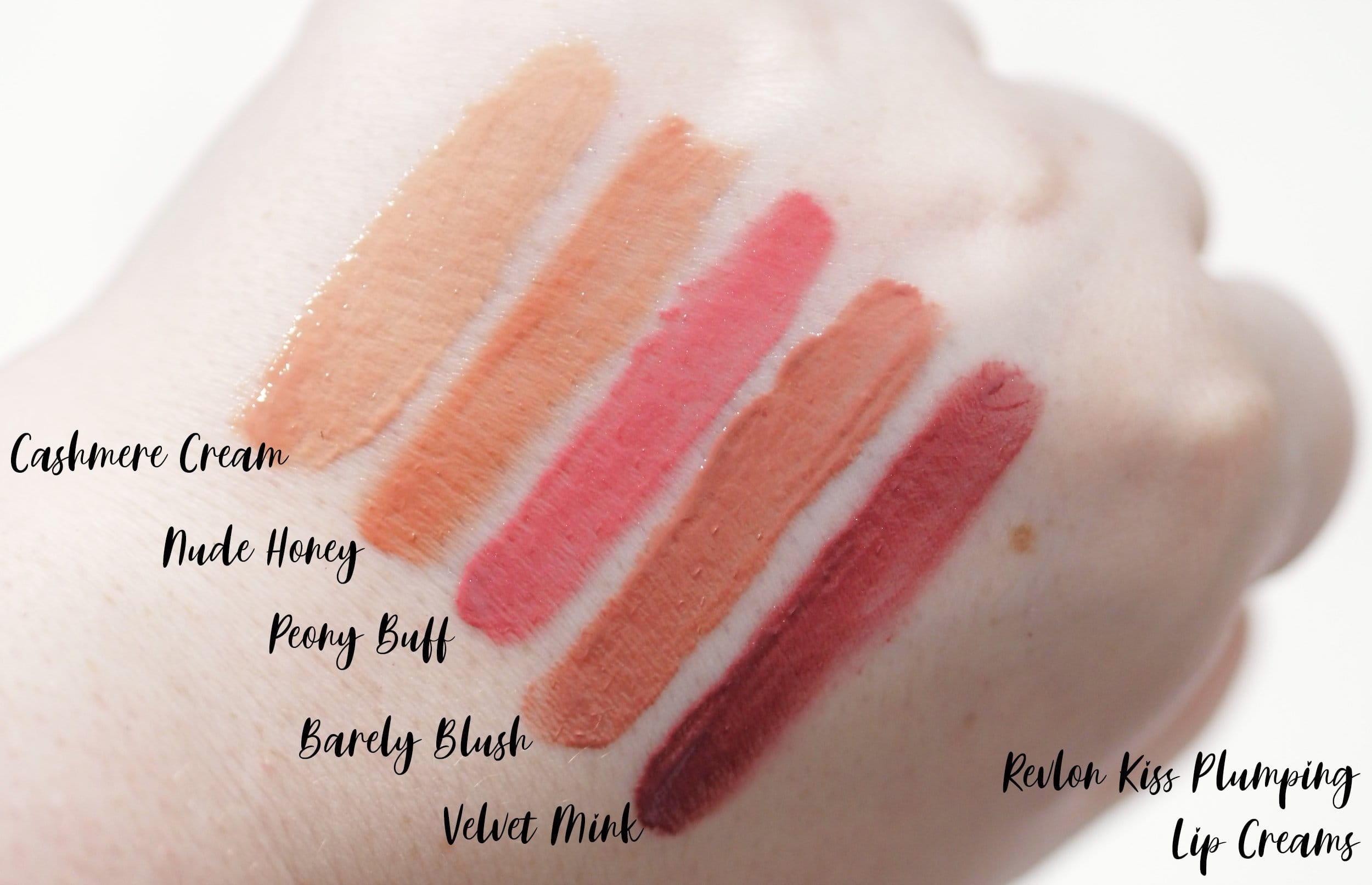 Review and Swatches of the Revlon Kiss Plumping Lip Cremes in the shades Cashmere Cream, Nude Honey, Peony Buff, Barely Blush and Velvet Mink