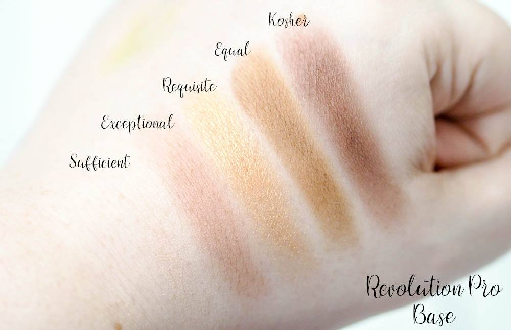 Review and Swatches of the Revolution Pro Base Eyeshadow Refill Pack containing five neutral toned individual eyeshadow pans.