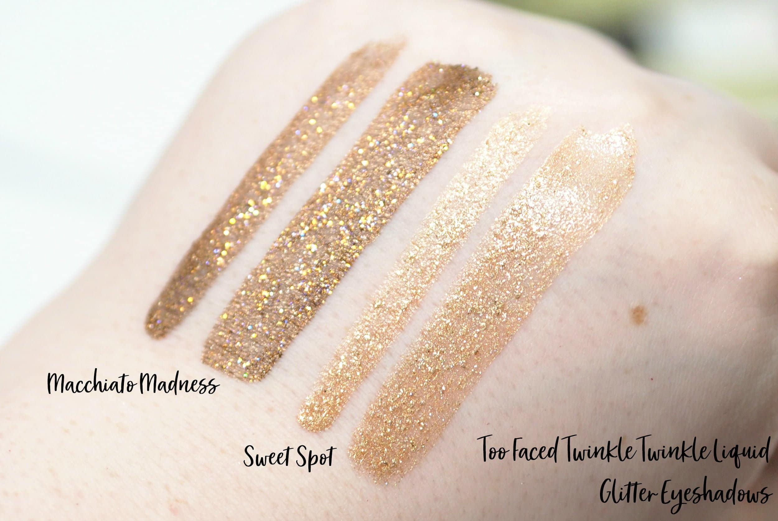 Too Faced Tutti Frutti Collection - Review and Swatches of the It's Bananas Powder, Twinkle Twinkle Glitter Eyeshadows, Juicy Fruits Lip Glazes, Fresh Squeezed