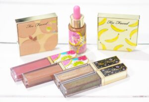 Too Faced Tutti Fruity Collection - Review and Swatches of the It's Bananas Powder, Twinkle Twinkle Glitter Eyeshadows, Juicy Fruits Lip Glazes, Fresh Squeezed