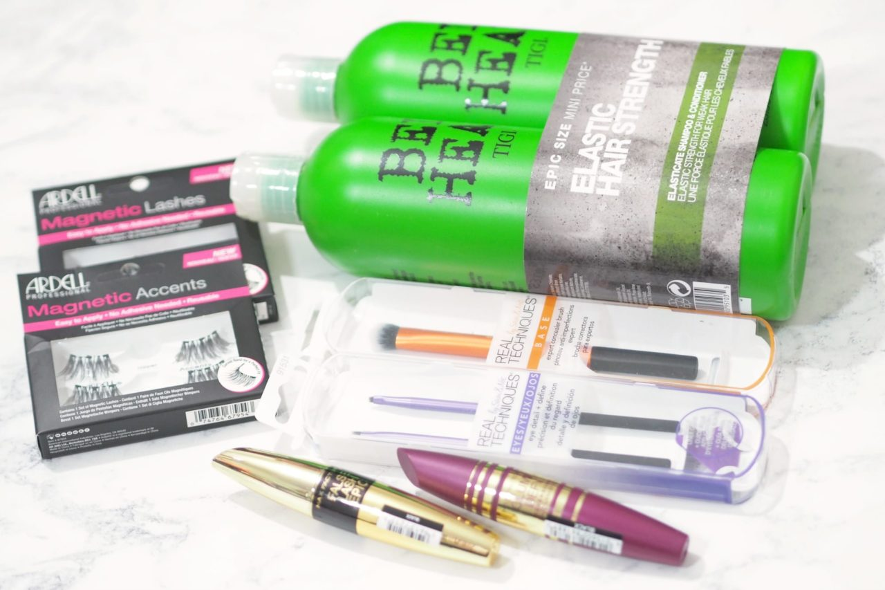 My Chemist Beauty Haul featuring Ardell Lashes, Real Techniques Makeup Brushes, TIGI Shampoo and Conditioner and Max Factor Mascaras.