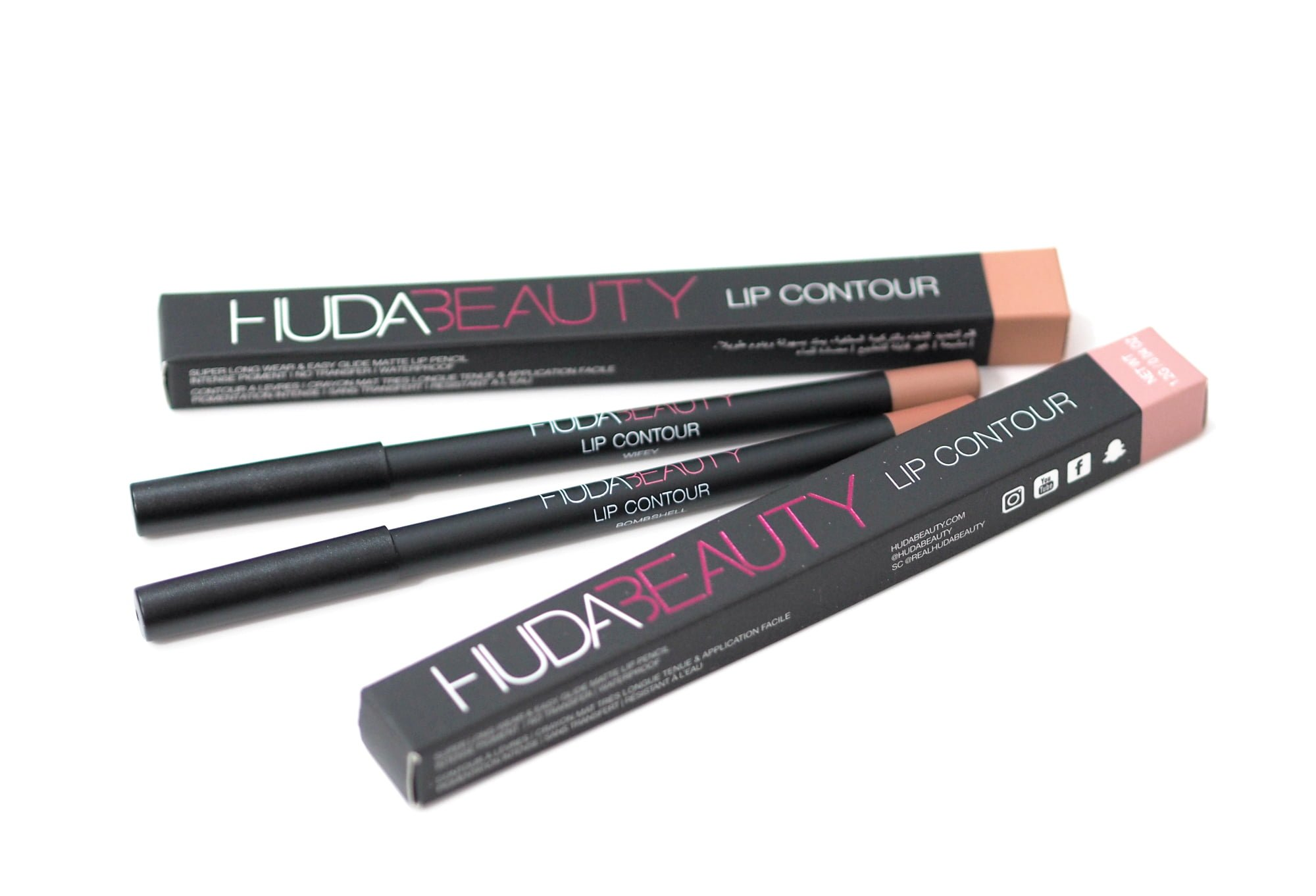 Huda Beauty Lip Contour Lip Liners in Wifey and Bombshell Review and Swatches
