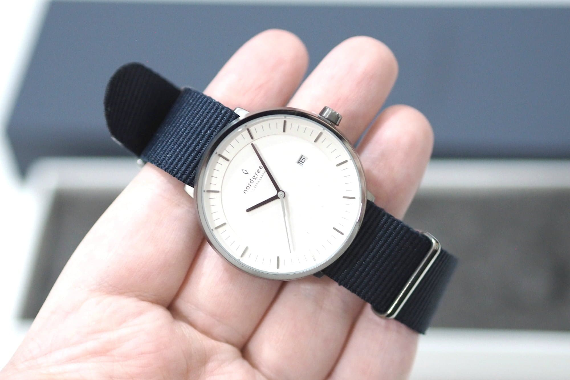Valentine's Day Gift Guide 2019 - Nordgreen Philosopher Gunmetal and Navy Nylon Watch
