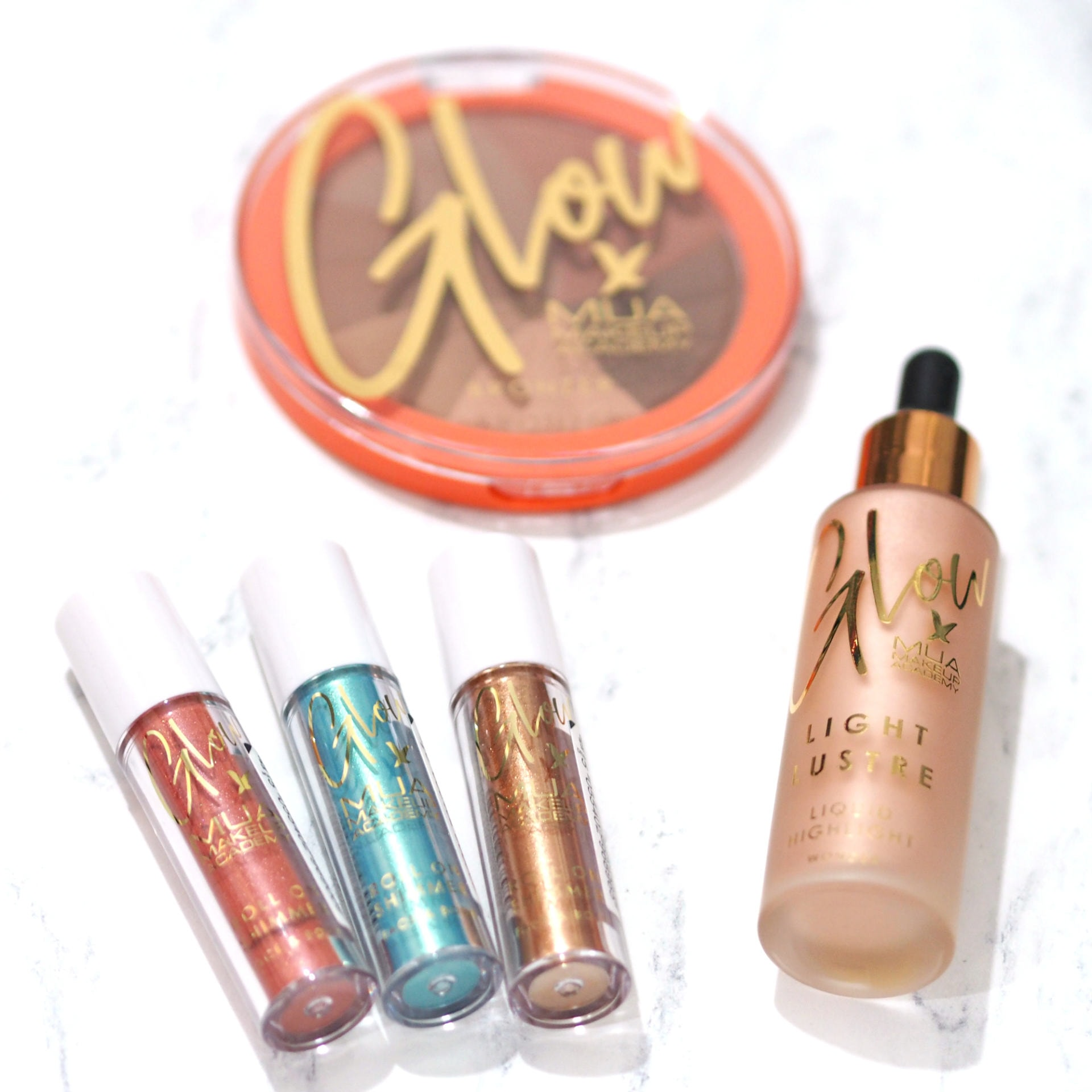 MUA x Glow Collection Review and Swatches ft. Bronzed Perfection, Light Lustre Liquid Highlighter, Roll On Eye Shimmers and more