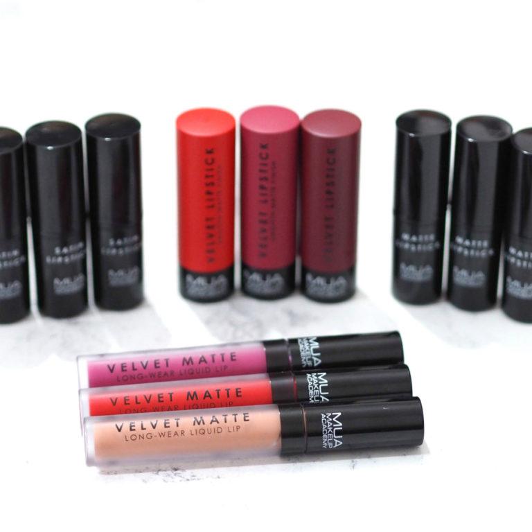 MUA Lip Collection Velvet Matte, Matte, Satin and Velvet Lipsticks Review and Swatches