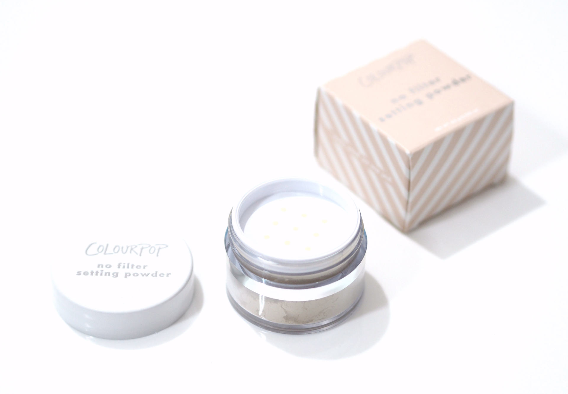 ColourPop No Filter Loose Setting Powder Review and Swatches in the shade Translucent