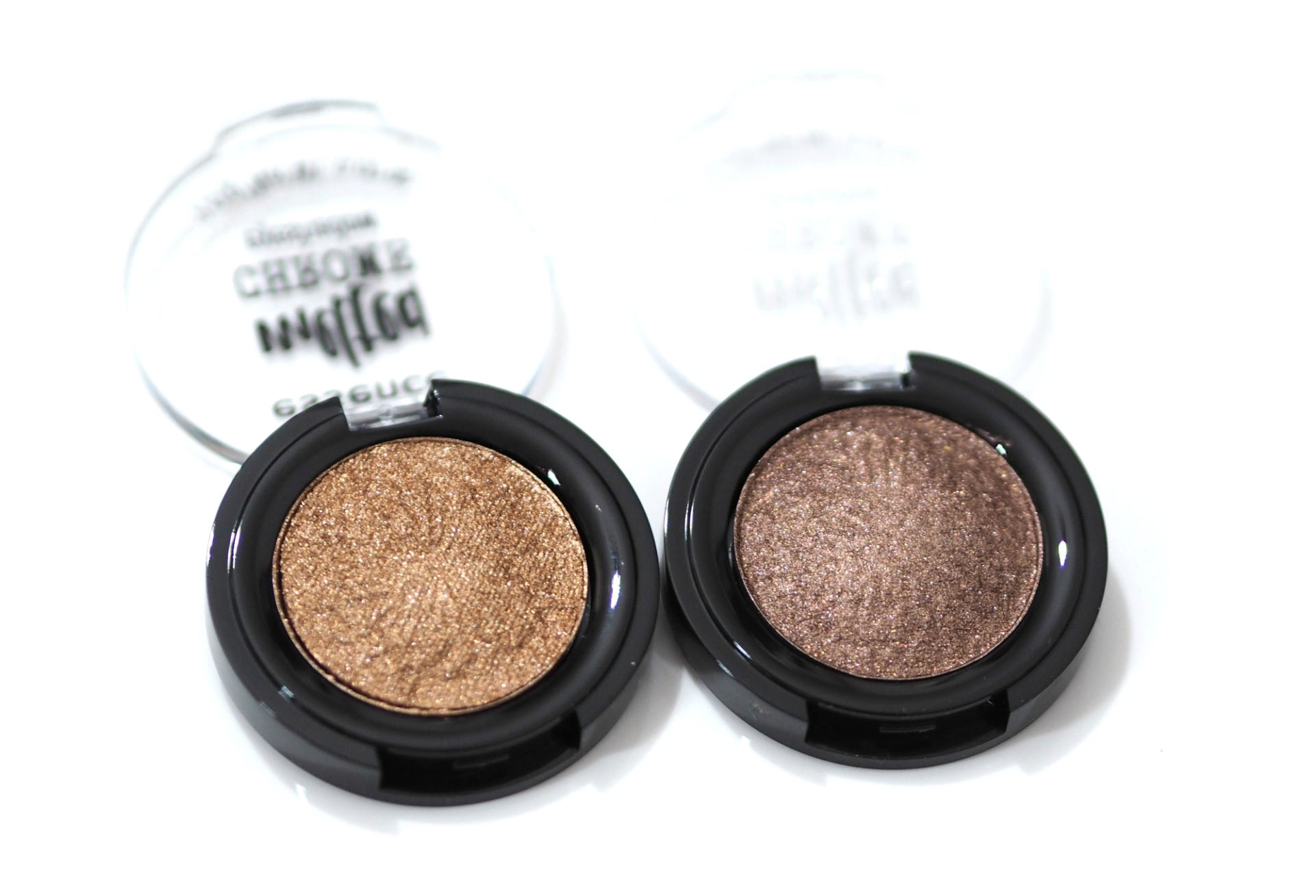 Essence Golden Crown and Warm Bronze Melted Chrome Eyeshadows