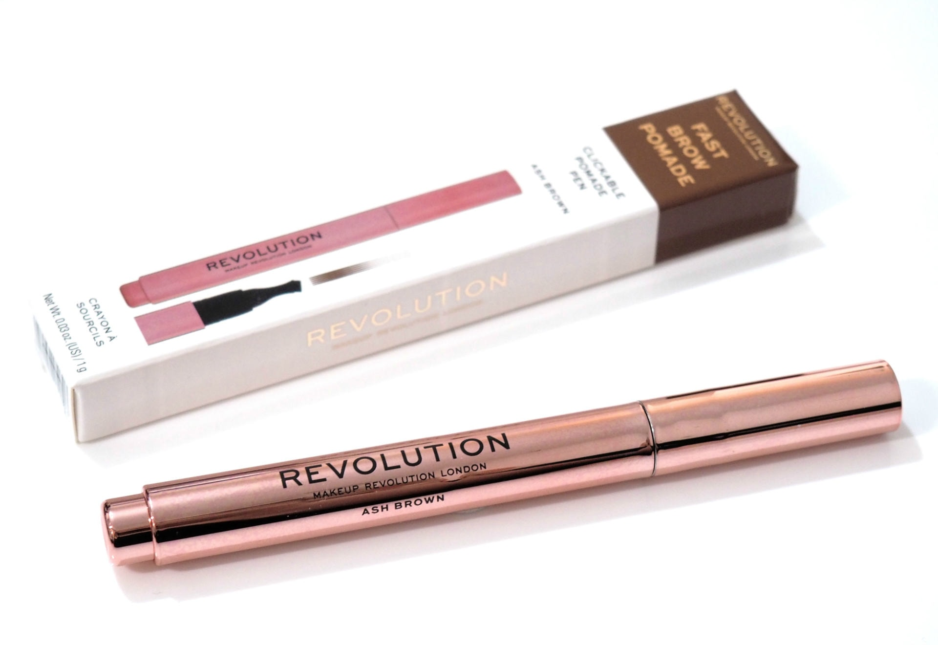 Revolution Fast Brow Pomade Pen Review and Swatches in Ash Brown